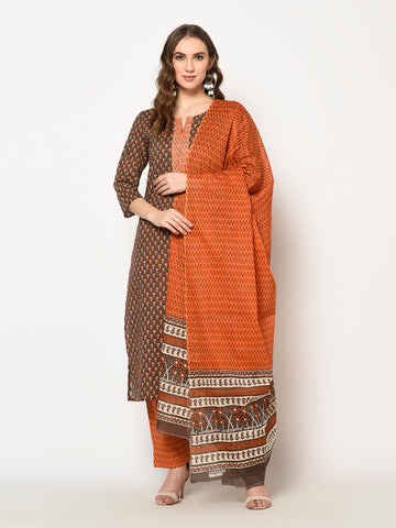 Brown Cotton Printed Straight Cut Suit
