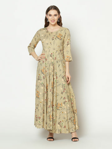 Beige Cotton Printed Anarkali Kurti