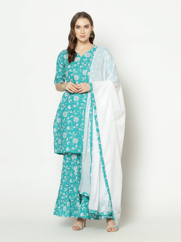 Teal Cotton Printed Anarkali Suit