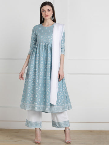 Grey Cotton Printed Anarkali Suit