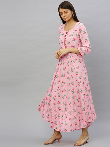 Pink Color Cotton Printed Dress