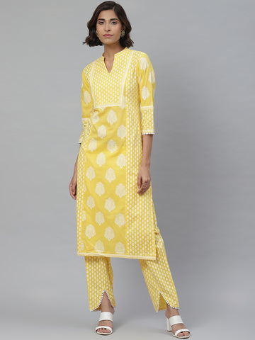 Yellow Cotton Printed Kurti With Palazzo