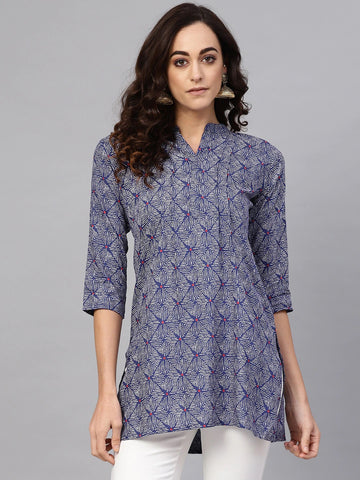 Blue Cotton Printed Top