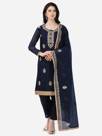 Navy Blue Chanderi Silk Embroidered Straight Cut Suit