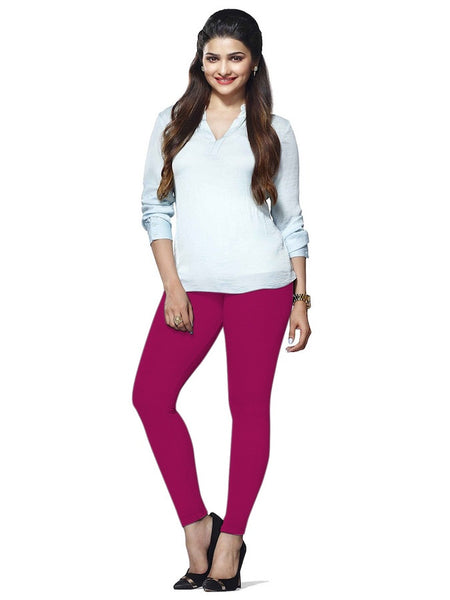 Magenta Cotton Lycra Leggings - PurpleTulsi.com