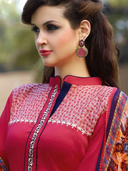 Red with Tinge of Blue Straight Cut Suit - PurpleTulsi.com