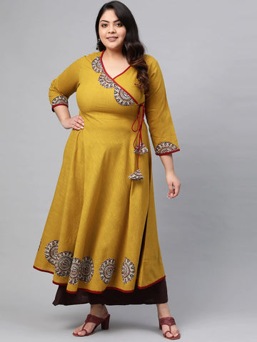 Mustard Cotton Patch Worked Anarkali Kurti