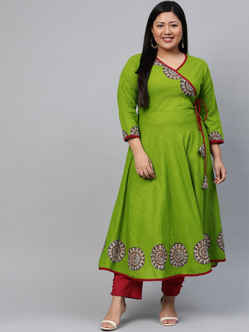 Green Cotton Patch Worked Anarkali Kurti