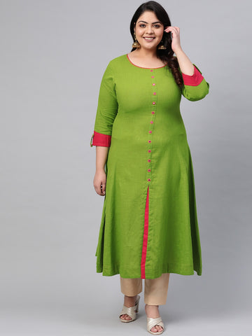 Green Cotton Solid Anarkali Kurti