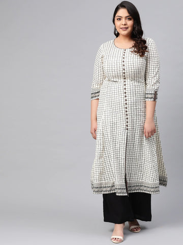Off White Cotton Printed Anarkali Kurti