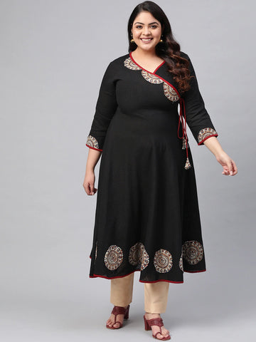 Black Cotton Patch Worked Anarkali Kurti