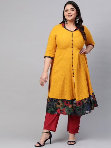Mustard Cotton Printed Anarkali Kurti