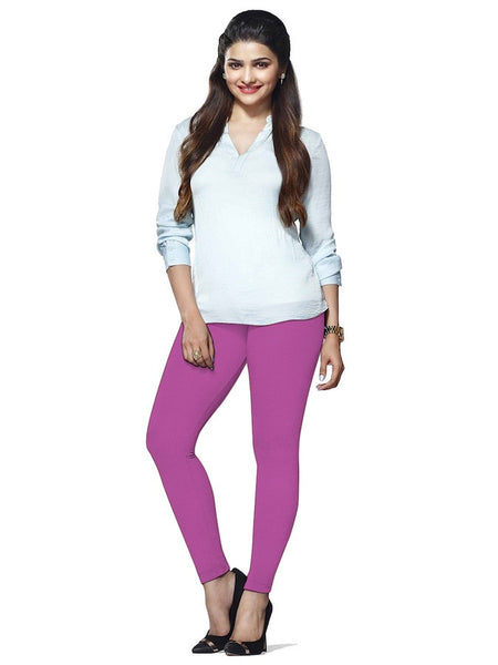 Purple Cotton Lycra Leggings - PurpleTulsi.com