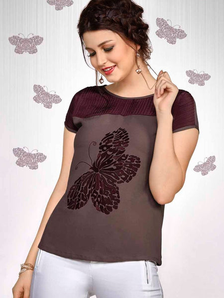 Wine Colour Fashion Top - PurpleTulsi.com  - 1