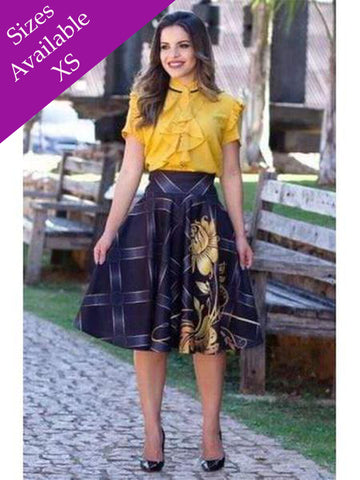 Beautiful Yellow Color Fancy Western Top & Skirt