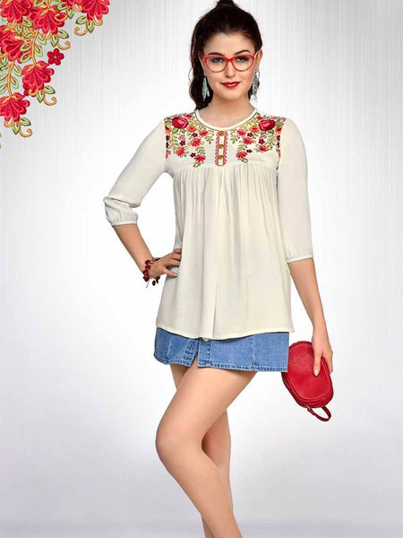White Fashion Top - PurpleTulsi.com  - 1