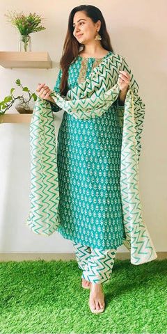 Teal Green Cotton Printed Straight Cut Suit