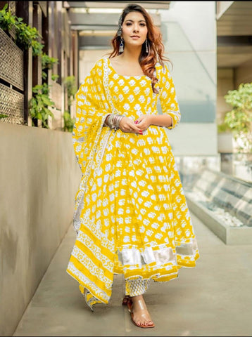 Yellow Rayon Printed Anarkali Suit
