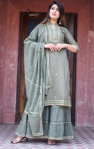 Green Maslin Silk Embroidered Straight Cut Suit