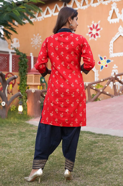 Red Rayon Printed Straight Cut Suit