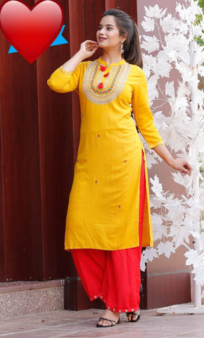Yellow Rayon Solid Kurti with Palazzo