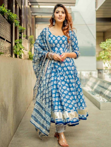 Blue Cotton Printed Anarkali Suit