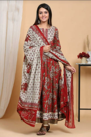 Maroon Cotton Printed Anarkali Suit