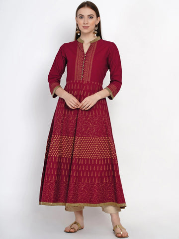 Maroon Cotton Block Printed Anarkali Kurti