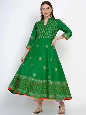 Green Cotton Block Printed Anarkali Kurti