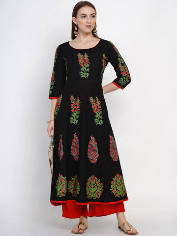 Black Cotton Block Printed Anarkali Kurti