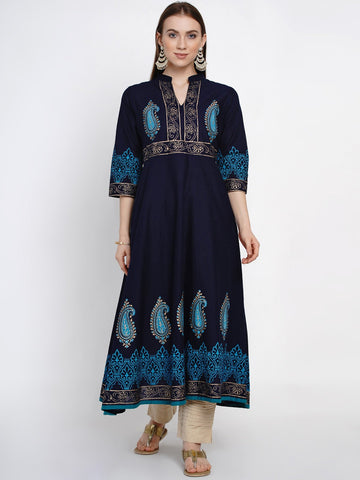 Blue Cotton Block Printed Anarkali Kurti