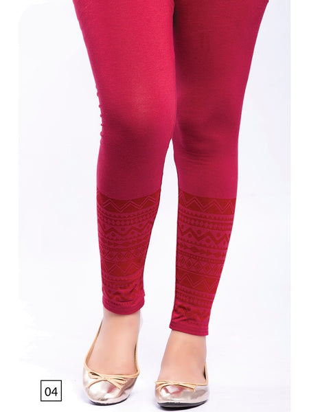 Dark Red Designer Leggings - PurpleTulsi.com