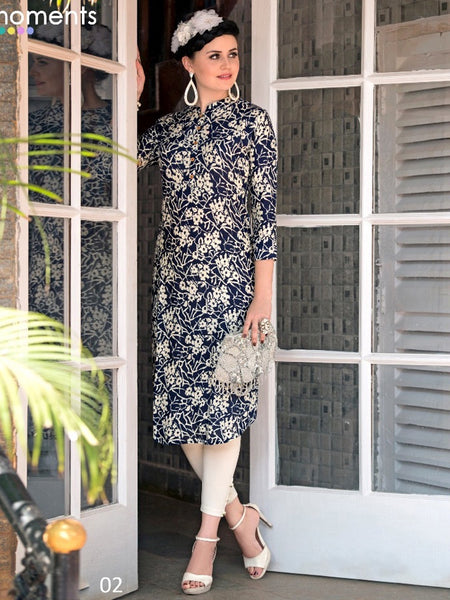 Indigo Blue and Off White Rayon Kurti