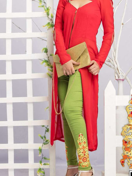 Green Embroidered Leggings - PurpleTulsi.com  - 1
