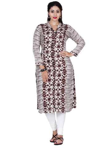 White and Brown Rayon Kurti - PurpleTulsi.com