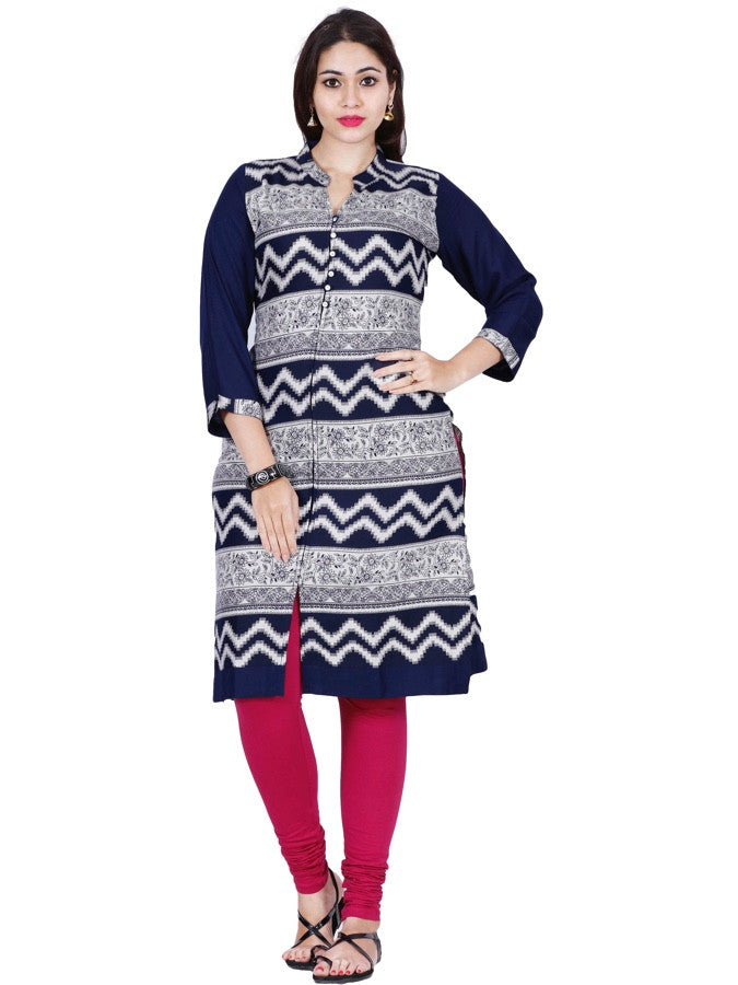 White and Blue Rayon Kurti - PurpleTulsi.com