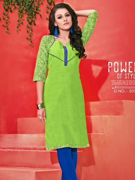 Spring Green Cotton Kurti - PurpleTulsi.com  - 1