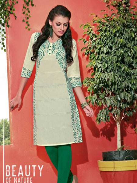White and Green Cotton Kurti - PurpleTulsi.com  - 1