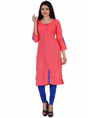 Beautiful Pink and Blue Rayon Kurti - PurpleTulsi.com