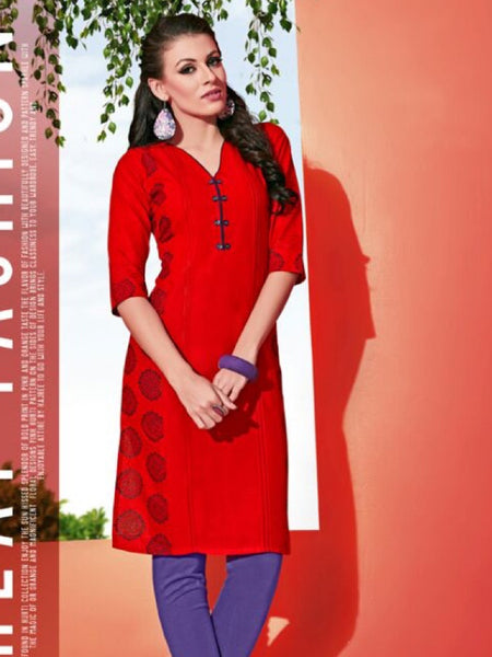 Candy Red Cotton Kurti - PurpleTulsi.com