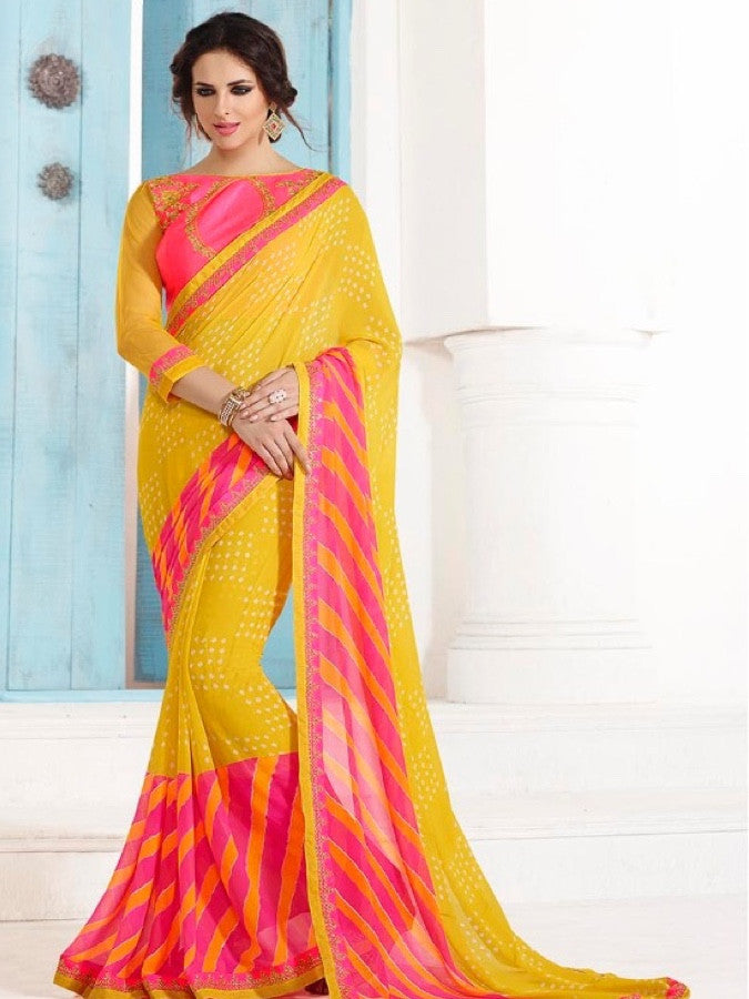 Yellow and Pink Georgette Saree - PurpleTulsi.com  - 1