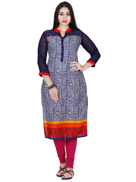 New Navy Blue and Multicolour Rayon Kurti - PurpleTulsi.com