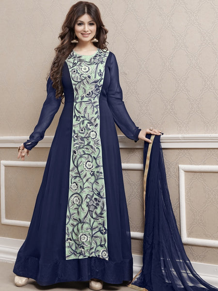 Indigo Blue Anarkali Suit - PurpleTulsi.com  - 1