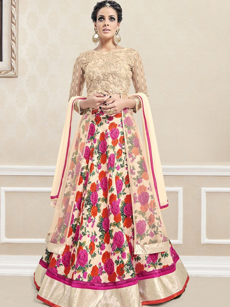 Gold and Multicolour Anarkali Suit - PurpleTulsi.com  - 1