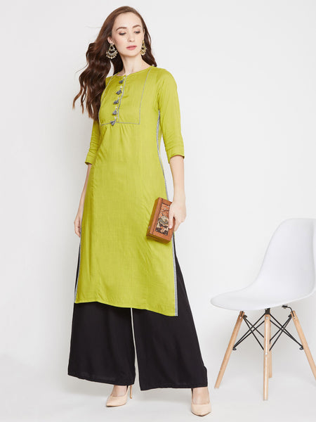 Green Color Rayon Straight Cut Kurti
