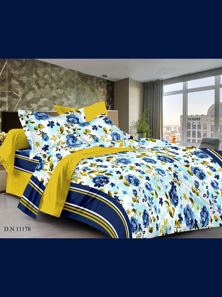 Navy Blue and Mustard Bedsheet