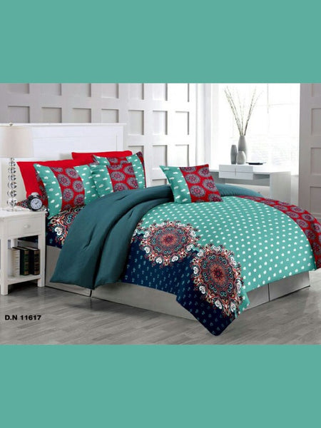 Green and Blue Bed Sheet