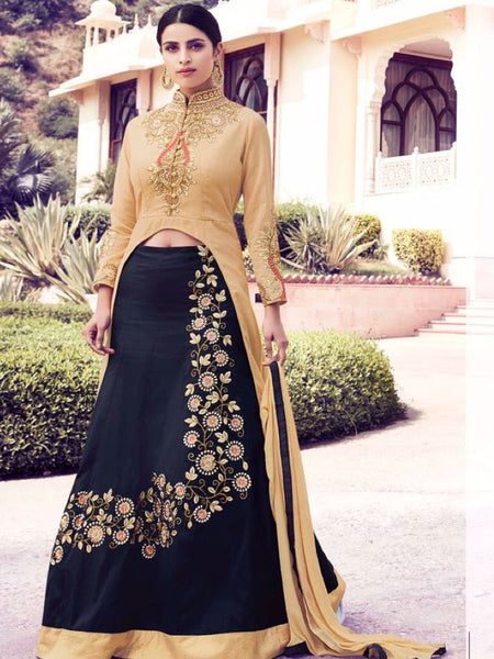 Gold and Black Anarkali Suit - PurpleTulsi.com  - 1