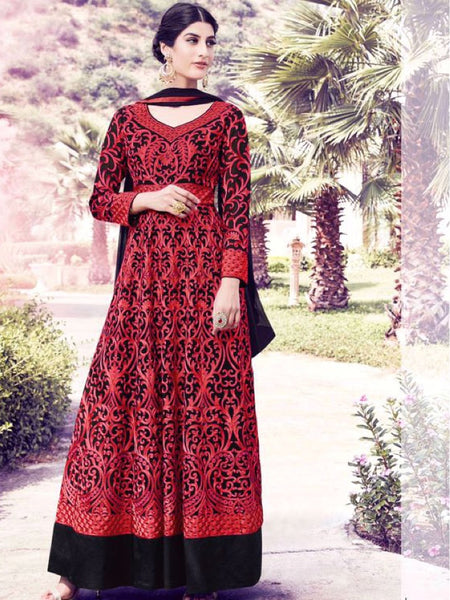 Black and Red Anarkali Suit - PurpleTulsi.com  - 1