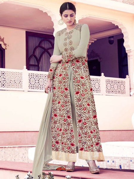 Light Olive Green Anarkali Suit - PurpleTulsi.com  - 1